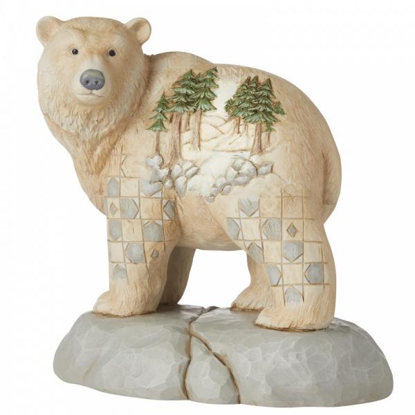 White Woodland Bear H14cm  Wild and Free Jim Shore 6006582