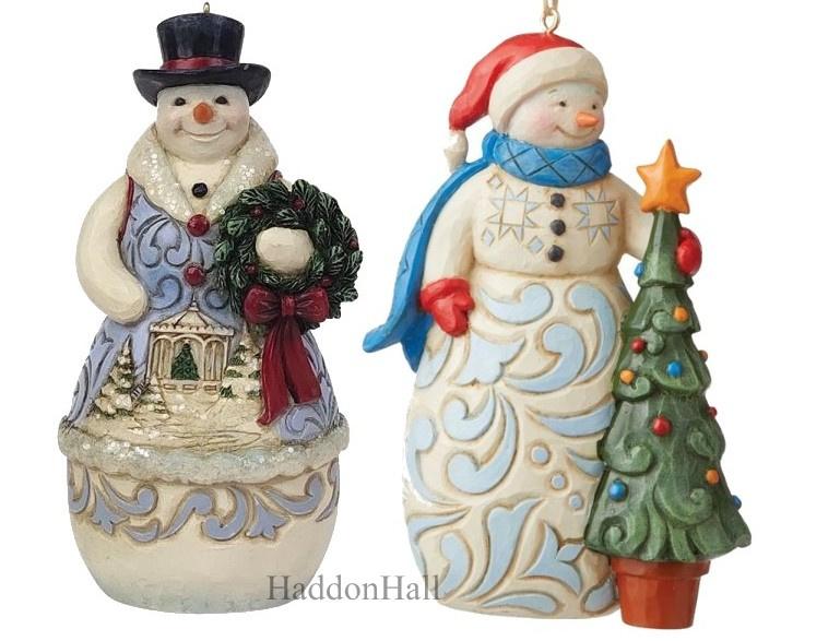 Snowman Hangin ornament  Set van 2 - Victorian - With Tree H12cm - Jim Shore