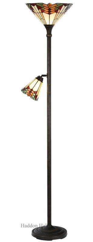 5969 Vloerlamp H178cm met 2 Tiffany kappen Ø35 en Ø14cm Stricta