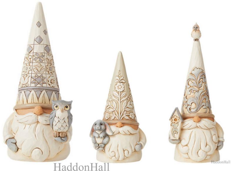 White Woodland Gnomes - Set van 3 - Jim Shore
