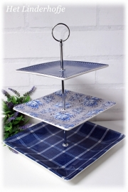 Etagere 3-laags blauw vierkant.