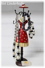 Juwelenhouder rode jurk.