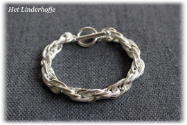 Zilveren armband schakel mat/glans