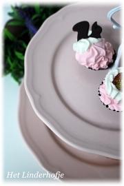 Etagere 2-laags roze barok