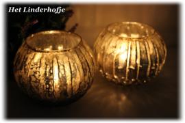 Waxinehouder ribbel gold *