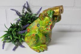 Spaarpot kikker met verrekijker groen *.