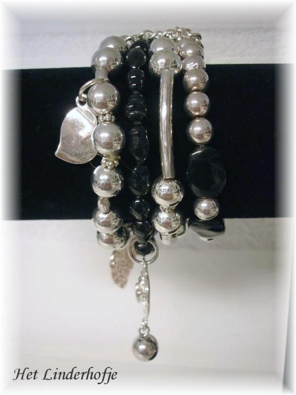 Armband 4-1 zwart/zilver