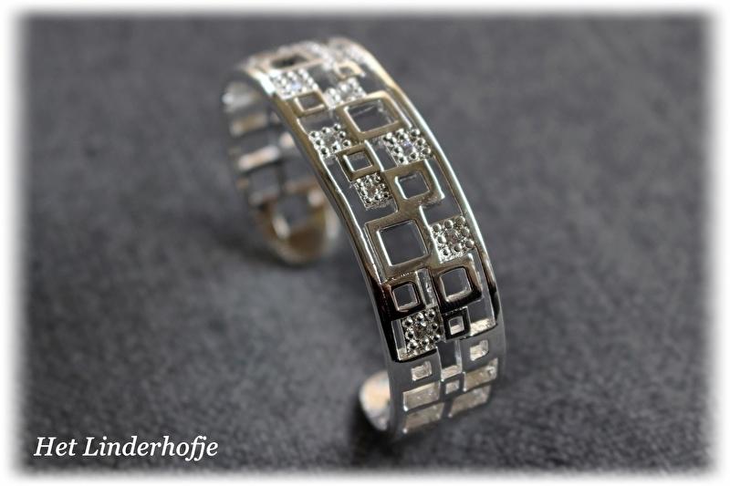 Zilveren armband vierkantjes