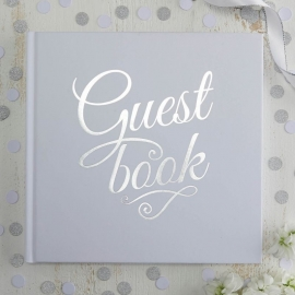 Guest Book met harde kaft (zilver/wit)