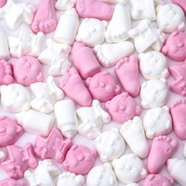 Roze/ witte foam snoepjes 500 gram
