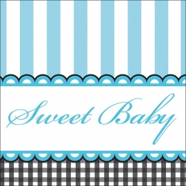 """Sweet Baby Feet Blue"" gebak servetten"