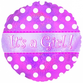 """It's a Girl Dots Holographic"" folie ballon (leeg!)"