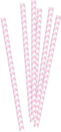 Roze gestreepte papieren rietjes, 20 stuks