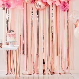 Backdrop / Feestgordijn Metallic Rosé Goud met roze