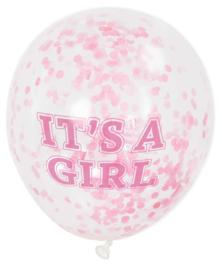 """It's A Girl"" confetti ballonnen 6 stuks"
