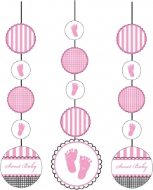 """Sweet Baby Feet Pink"" 3-delige hangslingers"