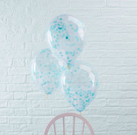 Blue Confetti Gevulde Ballonnen