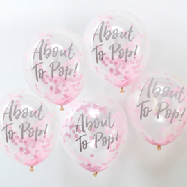 """Oh Baby"" About To Pop Roze Confetti Gevulde Ballonnen"
