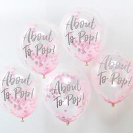 """About To Pop"" Roze Confetti Gevulde Ballonnen"