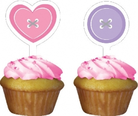 """Cute as a Button Girl"" cupcake prikkers"