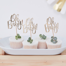 """Oh Baby"" cupcake toppers"