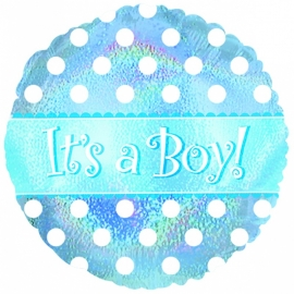"""It's a Boy Dots Holographic"" folie ballon (leeg!)"