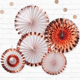 Paperfans bloemen Rosé goud