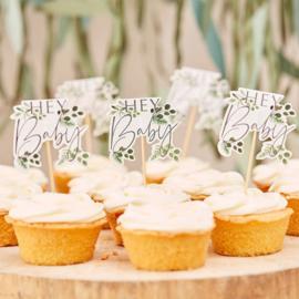 """""""Botanical Baby"""" cupcake prikkers"""