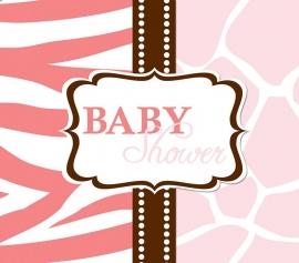 """Wild Safari Pink Babyshower"" uitnodigingen"