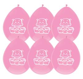 """Girl"" Pink ballonnen 6 stuks"