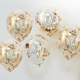 """Oh Baby"" gouden Confetti Gevulde Ballonnen"