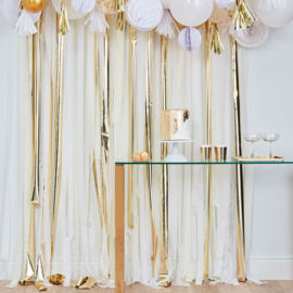 Backdrop / Feestgordijn Metallic Goud met wit