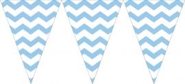 """Babyblauwe Chevron"" kleine plastic vlaggetjes slinger"