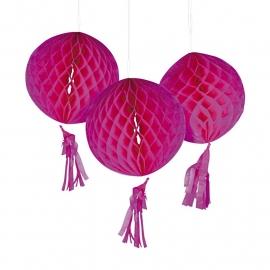 3 Decoratie bollen met tassel Roze