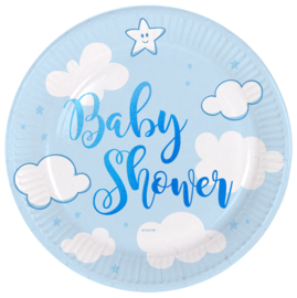 """Little Cloud Babyshower"" Blue gebak bordjes"