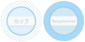 """Babyshower Blue"" gebak bordjes"