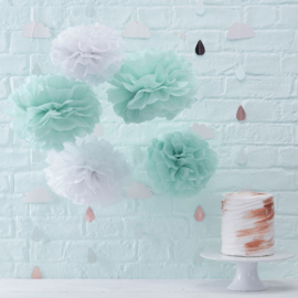 """Hello World"" 5 pompoms mint groen en wit"