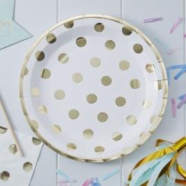 """""""Golden Dots"""" lunch bordjes (8 stuks)"""