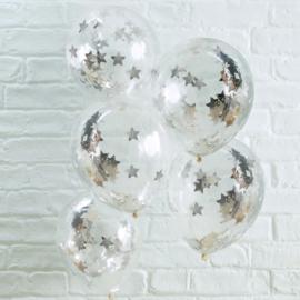 Zilver Ster Confetti Gevulde Ballonnen
