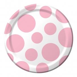 """""""Baby Pink Polkadot"""" gebak bordjes"""