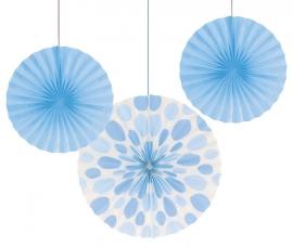 """Decoratiebloem Baby Blue & Polkadot, set van 3 stuks"""