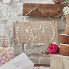 Candy Bar houten bordje in Bohemian Style