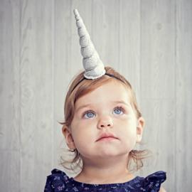 Unicorn hoofdband roze/blauw