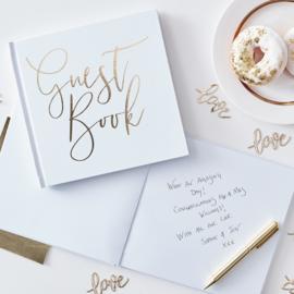 Guest Book met harde kaft (goud/wit)