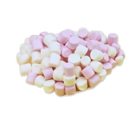 Roze/witte Mini Marshmallows  250 gram