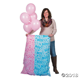 Gender Reveal Surprise Bag XL met ballonnen Girl