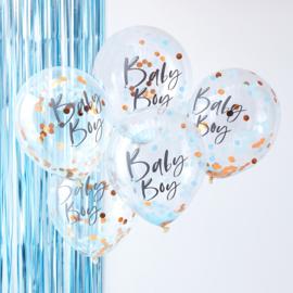 """""""Baby Boy"""" Rosé Gouden Confetti Gevulde Ballonnen"""