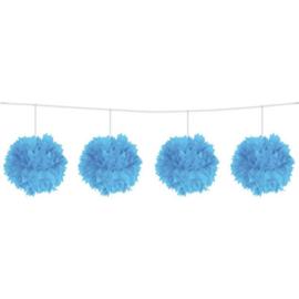 Blauwe Pom Pom slinger
