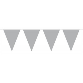 Zilveren XL vlaggetjes slinger