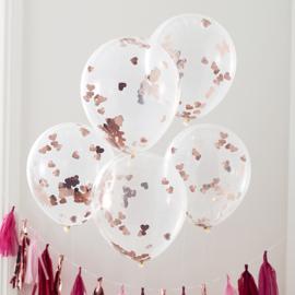 Rosé Gouden Hart Confetti Gevulde Ballonnen